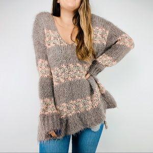 Free People striped fuzzy oversized sweater